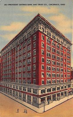 Cincinnati Ohio Provident Savings Bank And Trust Co 1940S Linen Postcard