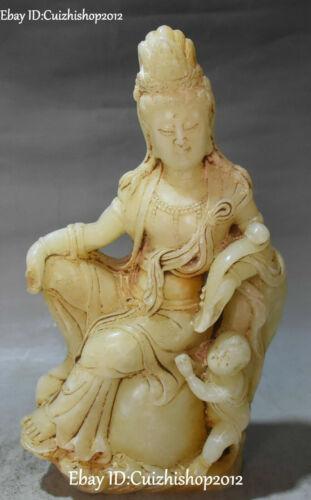 """10 """"China Old Jade Tongzi Kid Ruyi Kwan-Yin such Guan Guan Yin Goddess"""