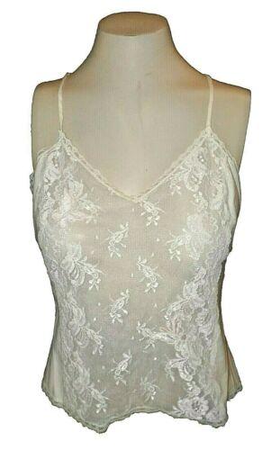 Camisole Cami vintage 1980s Barbizon 100%-Cotton Lace Applique Ivory 217560 M