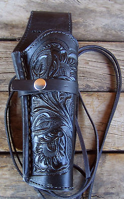 NEW! Black Leather Single Western SASS Tooled Holster for 22 38/357 44/45 cal