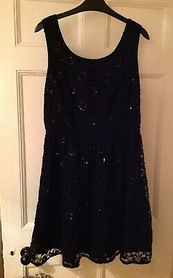 lace sequin christmas cut out skater LBD dress UK 12 (Cute Christmas Kleid)