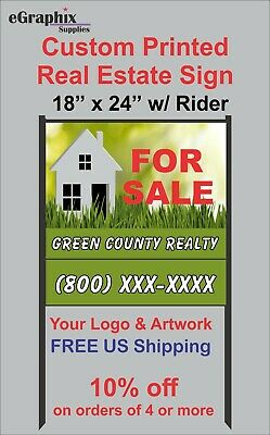 Custom Printed Real Estate Sign 18 X 24 Alum With H-style Black Metal Frame