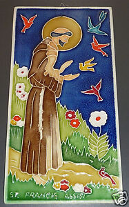 Ceramic Art Tile, Wall Plaque ~ St Francis of Assisi