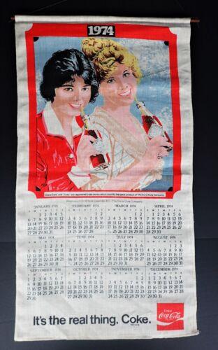 1974 Coke Linen Cloth Calendar Craft Material Soda Coca Cola Retro Vtg Art