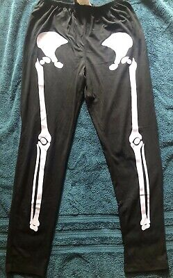 Black Skeleton Leggings Plus Size/Queen, Great Condition, Pre-Owned, Costume](Skeleton Leggings Plus Size)