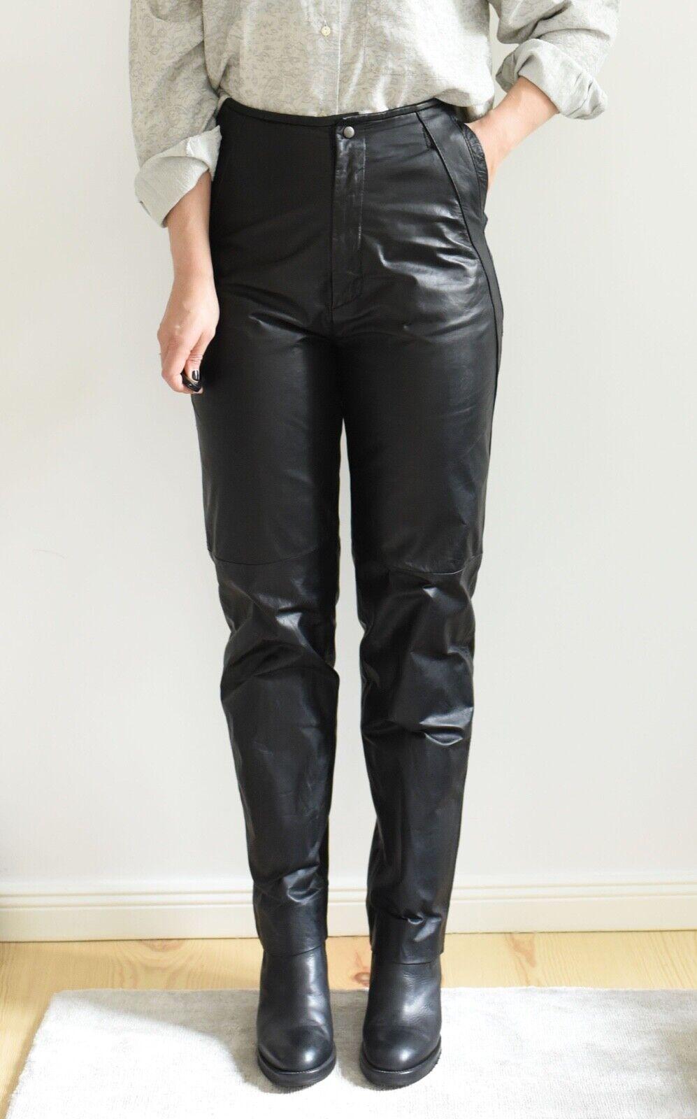 Vintage Lederhose C&A high-waist gerades Bein schwarz Biker grunge boho *38/40