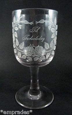 Antique 250ml Holmegaard Kastrup Rose Engraved Birthday glass c1910