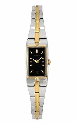 Seiko SZZC42 Women's Dress Two-Tone Rectangular Face Black Dial Bracelet Watch