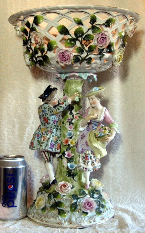 Large Antique Sitzendorf  German Dresden Porcelain Figural Centerpiece Compote