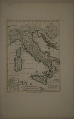 1820 Genuine Antique Map Italy, Sardinia, Sicily, Corsica. by Luigi Rossi