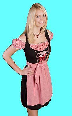 2tlg DIRNDL knielang schwarz rot Damen Kleid Tracht Oktoberfest Kostüm Wiesn - Oktoberfest Damen Kostüm