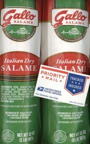 GALLO 4 POUNDS ITALIAN DRY SALAME SALAMI 2#x2=64oz FRESHEST! FREE PRIORITY SHIP!