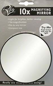 Rio 10x Magnifying Vanity Compact Travel Make Up Magnification Mirror With Light