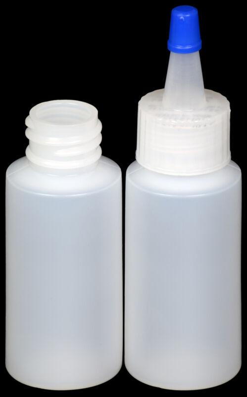 Plastic Spout Lid Dropper/Applicator Bottle w/Blue Overcap, 1-oz., 100-Pack, New