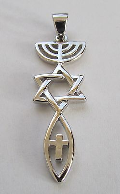 .925 Sterling Silver Messianic Christian  Roots Symbol Necklace Pendant 1.5""