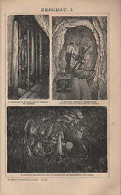 Lithografien 1901: BERGBAU. I-IV. Schacht Bohrmaschine Seil Förderung Radkunstge