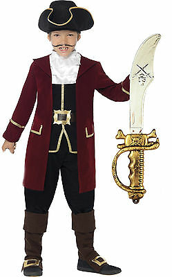 Smiffys Deluxe Pirate Captain Hook Boys Kids Child Fancy Dress Costume + Sword - Deluxe Captain Hook Costume