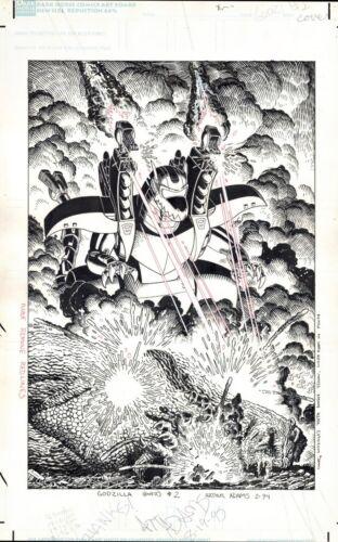 ARTHUR ADAMS 1995 GODZILLA #2 ORIGINAL COVER ART CLASSIC ART ADAMS COMIC ARTWORK