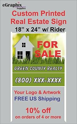 Custom Printed Real Estate Sign 18 X 24 Alum With H-style White Metal Frame