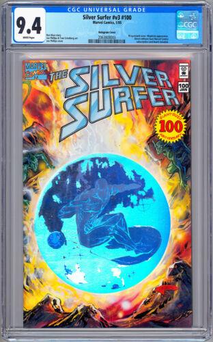SILVER SURFER #100 CGC 9.4 RARE/HTF *SILVER HOLOGRAM* WRAPAROUND COVER MARZ 1995