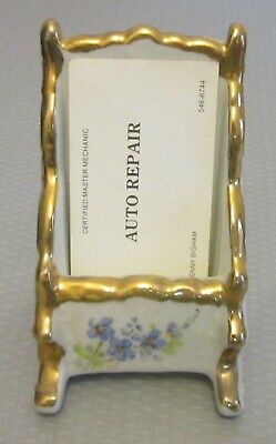 Estate Vtg Hand Painted Porcelain Business Calling Card Holder Standing Display