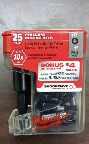 MILWAUKEE 48-32-5009 25pc Magnetic Bit Holder w/ #2 Impact Phillips Bits