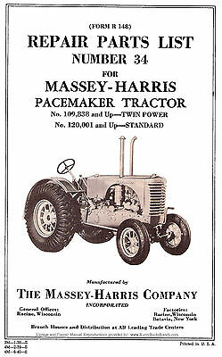 Massey Harris Pacemaker Tractor Parts Manual 34