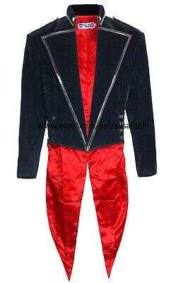 Mens Tailcoat Jacket Black Velvet Gothic Steampunk Vampire Swallowtail Costume