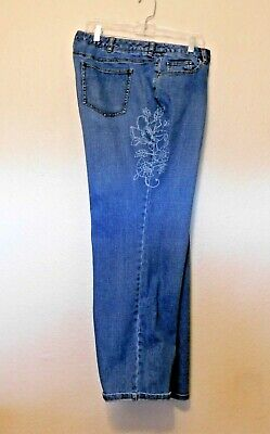 Talbots Woman Jeans 18W Blue White Floral Print Inseam 30 Cotton Spandex