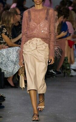 $1450 N°21 BY ALESSANDRO DELL'AQUA KNOTTED LEATHER SKIRT IN BEIGE IT42 US 6