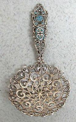 Reticulated Bailey  Banks   Biddle 1870S Sterling Silver   Enamel Bon Bon Spoon