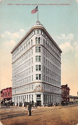 Oakland California First National Bank Building 1909 Postcard
