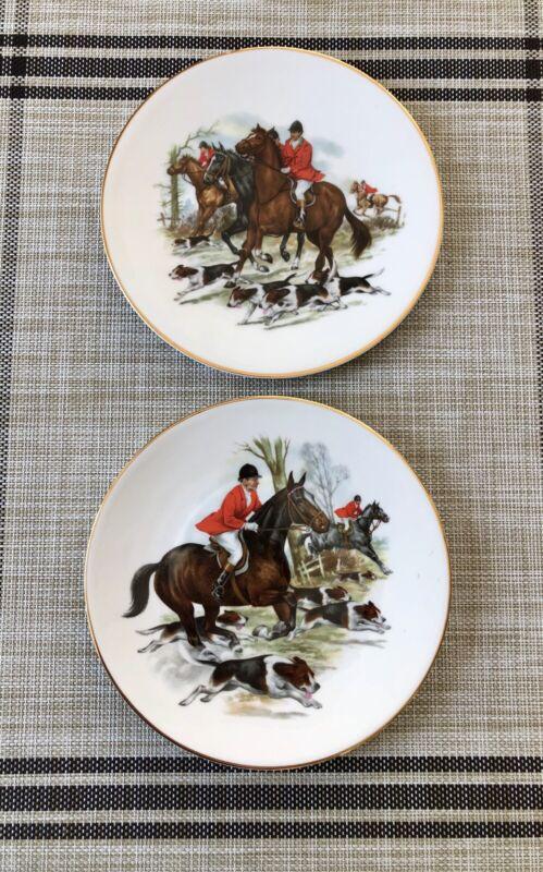 Royal Tara China, Ireland, Tara Hall, Horse, Beagle, Equestrian, Fox Hunt Plates