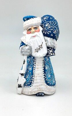 Russian SANTA in Blue Coat Wood Hand Carved Hand Painted Signed - Blue Santa