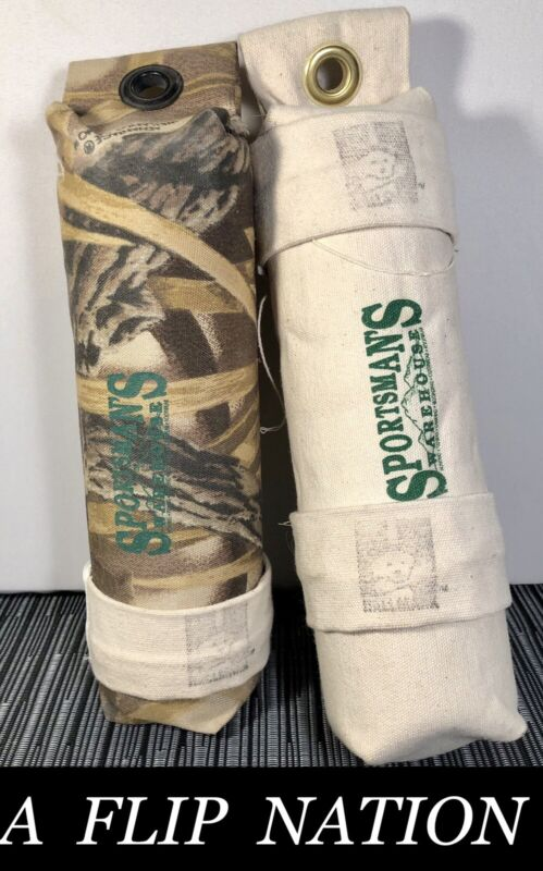 """Sportsman's NEW 2-Pack 3"""" Large W Canvas Dog Hunting Throwing Dummy Floats Camo"""