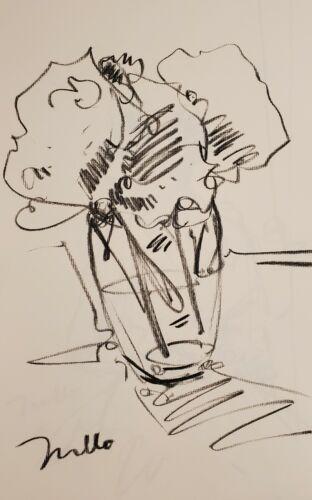 JOSE TRUJILLO - Original Charcoal Paper Sketch Drawing 11X17 STILL LIFE FLORWERS