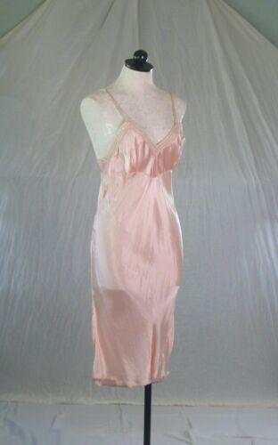 vintage 40s pink bias rayon SATIN SLIP S-M