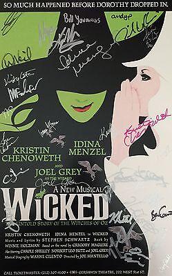 Wicked Original Cast Signed 14X22 Window Card Kristin Chenoweth Idina Menzel Coa