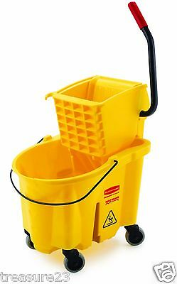 Rubbermaid Wavebrake Bucket Wringer 26 Quart Mop Bucket Yellow Commercial Combo
