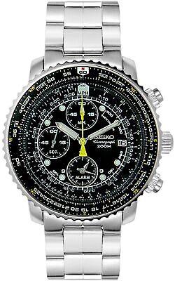 NEW Seiko Men's SNA411 Flight Alarm Chronograph Watch SNA411P1
