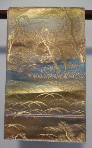 #73 Vintage Japanese Silk Fukuro Obi, Pine Trees