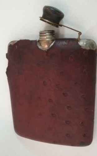 Antique Nickel E. C. Co Silver ~~Flask with Ostrich Leather Sheath Cover 1919