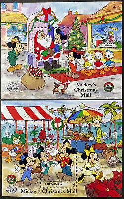 DOMINICA Mickey's Christmas Mall  Beautiful Mint NEVER Hinged Sheets UPTOWN