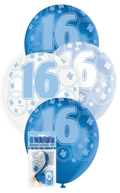 16th BIRTHDAY BALLOONS PK6 PARTY DECORATIONS BLUE AND WHITE LATEX BALLOONS