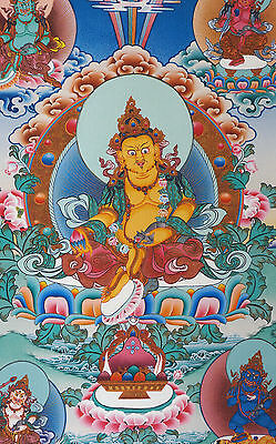 17  Natural Mineral Color Silkprint Tibetan Thangka  5 Jambhalas  Gods Of Wealth