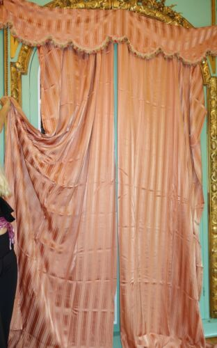 4 Pc. FRENCH ANTIQUE DRAPES PANEL CURTAIN & VALANCE BED COVER  BED SPREAD PINK