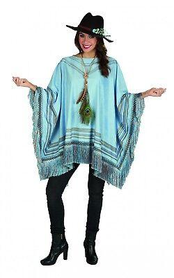 Excl. Kostüm Poncho m Fransen Cape Mexikaner Western Hippie Wildlederoptik (Fransen Hippie Kostüm)