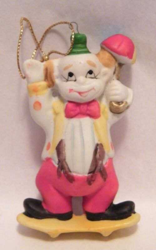 Vintage Ceramic Skateboarding Clown Ornament Animal Rescue Charity
