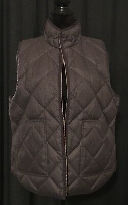 J CREW, Quilted Puffy Excursion Vest, Gray/Heathered Brown Down, US-XL for sale  Springdale