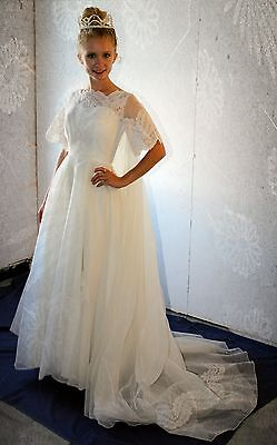 FABULOUS White Wedding Dress Vintage 60's Sequins & Lace Full Skirt Train  S/XS